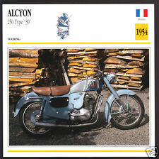 1954 Alcyon 250cc Type 39 France Motorcycle Photo Spec Sheet Info Stat Card