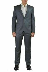 Versace Collection 100% Wool Gray Striped Two Buttons Men's Suit US 38 IT 48