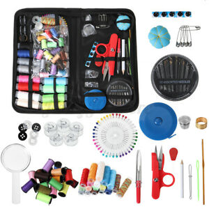 128/138 PCS Portable Sewing Kit Small Case Needle Thread Scissor Home AU