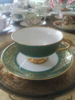 VINTAGE F. Monarch Green & Gold Tea Cup & Saucer.  Porcelain Heavy Gold. EUC.