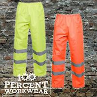 Uneek High Visibility Shower Proof Work Over Trousers Hi Viz Vis Yellow / Orange