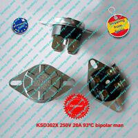 Termostato (1Pz) KSD302X 250V 20A  93ºC NC, bipolar,Manual Reset Thermo