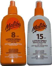 2x MALIBU WATER RESISTANT SUN TAN TANNING LOTION SPRAY UVA & UVB - SPF 8 + 15