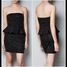NWT Zara Trafaluc Black Beaded Peplum Strapless Party Dress Size Medium