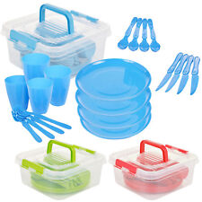 21 Piece Plastic Picnic Camping Party Dinner Plate Mug Cutlery Set Storage Box