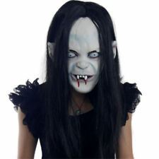 Halloween Horror Long Hair Witch Full Face Latex Mask