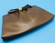 Vtg MC After Five Brown Clutch Chain Handle Satin Lined w Coin Purse Bow Clasp