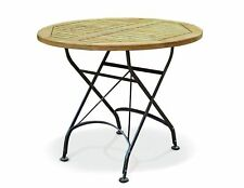 Café Round Folding Bistro Table - Teak and Metal - 0.9m - FULLY ASSEMBLED