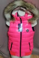 New  American Eagle Pink Feather Down Faux Fur Hooded Vest Size Small