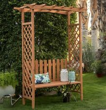 Wood Garden Arbor Bench Trellis Pergola Archway Outdoor Lawn Gateway Patio New