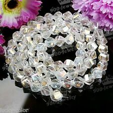 70pcs Faceted Twist Ab Clear Rhinestone Austria Crystal Glass Loose Bead 8mm