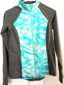Justice Girl's Size 12 Active Wear L. Sleeve Zip Front Jacket-Thumb Hole-Gray