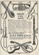 W3706 Strumenti musicali Americani - The H.E. McMILLIN - Pubblicità 1913 - Adv.