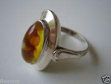 Antiker Pressbernstein Ring 835 Silber Schiffchen Honig Einschlüsse 17,3 mm #232
