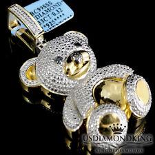 Diamond Teddy Bear Pendant Ladies 14K Yellow Gold Finish Round Pave Charm .33ctw