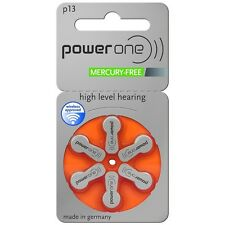 Power One Mercury Free Hearing Aid Batteries x60 Size 13