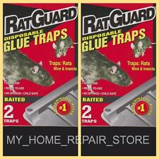 4 FOR $8 !  FREE S&H! 2 BOXES OF 2 RAT GUARD INSECTICIDE FREE BAITED GLUE TRAPS