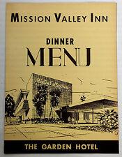 1950s Vintage Menu Mission Valley Inn San Diego Garden Hotel Dinner Restaurant