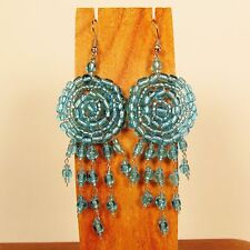 "2 1/2""  Ice Blue Dreamcatcher Handmade Dangle Seed Bead Hook Earring"