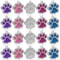 50pcs Wholesale Bling Rhinestones Paw Glitter Personalised Dog Tags Pet ID Tag