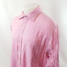 Boden Mens Button Front Dress Shirt Sz 17 Pink Herringbone French Cuff A60-01