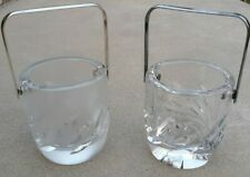 Lalique Crystal Mini Single Bottle Holders Ice Buckets w/Silver Handles Set of 2