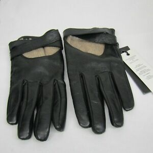 Quill & Tine Touchscreen Black Italian Lamb Leather Gloves Size 8