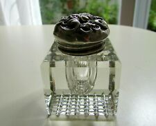 ANTIQUE CUT GLASS & STERLING SILVER ENGRAVED REPOUSSE LID INKWELL