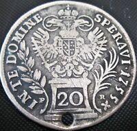 1755 Austria 20 Kreuzer PR - Silver Coin **holed**