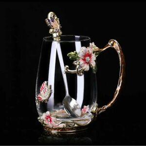 Enamel Coffee Cup 320/350 ML Hand Grip Mug Flower Tea Glass Cups+Spoon+Tray Sets