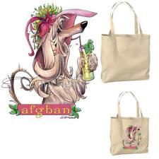 Afghan Hound Dog Lady Tropical Drink Cartoon Artist Canvas Grocery Tote Bag