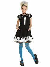 Hot Topic Juniors Lolita Goth Punk Piano Keys Ruffle Dress Black NWOT Medium
