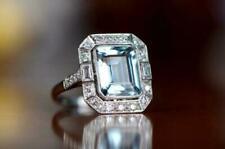 3 Ct Emerald Cut Aquamarine & Diamond Halo Engagement Ring 14K White Gold Finish