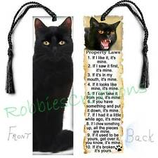 "BLACK CAT BOOKMARK Large 6"" w/TASSEL RULES Attitude Laws Book Mark CARD figurine"