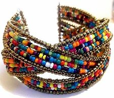Glass Seed Bead Cuff Bangle Bracelet Multi-color Ship from USA # C604