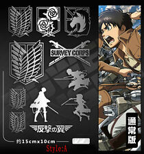 1set Anime Attack on Titan Metal Decal Stickers For Phone Laptop Cars Wall Door