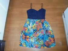 City Triangles blue crochet tank with floral skirt mini sundress size M