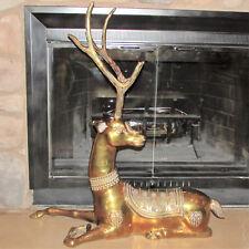 """Huge Mid-Century Hollywood Regency Brass Asian Reclining Deer Buck 36"""" Tall"""