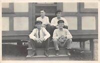 D43/ Cresson Pennsylvania Pa Real Photo RPPC Postcard Men Vacation Cottage