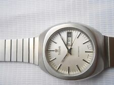 RARE VTG SWISS MADE SQUARE SS TITONI SILVER DIAL ROTOMATIC MEN AUTOMATIC WATCH