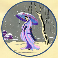 1930s French Pochoir Print Edouard Halouze Japanese Geisha Pink Dress Umbrella S