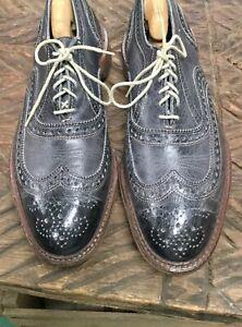 Allen Edmonds Navy Neumok Wingtip Oxfords Shoes Men's Sz 9.5 Gray Lace
