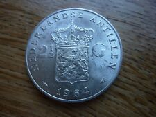 1964 Silver  25g  2 1/2 Gulden Antillen Juliana  Netherlands Coin (ref41)