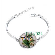 CHINESE BARBET glass cabochon Tibet silver bangle bracelets wholesale