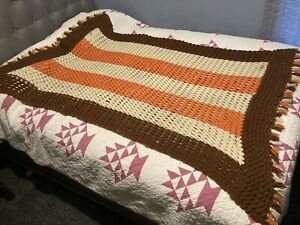 Vintage Handmade Afghan Crochet Throw Blanket 5'x3'