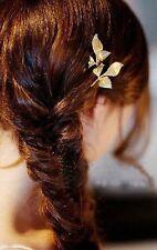 Barrette pince -  feuille doré , bijou de cheveux mariage