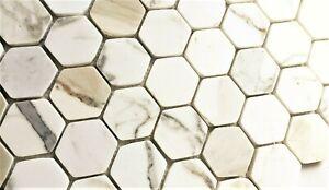 "Calacatta Gold 2"" Hexagon Marble Mosaic Wall And Floor Tile Backsplash Bath"