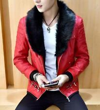 Mens Leather Furry Neck Collar Winter Jacket Thick Biker Coat Outwear Motorcycle