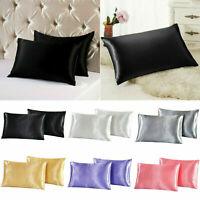 2pcs Solid Queen/Standard Silk Satin Pillow Case Bedding Pillowcases Smooth Home