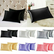 1Pair Pure Color Silk Pillowcase Cover Solid Color Pillowcase Cover